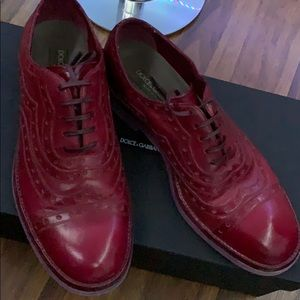 Dolce & Gabbana Burgundy Brogue Leather Oxfords